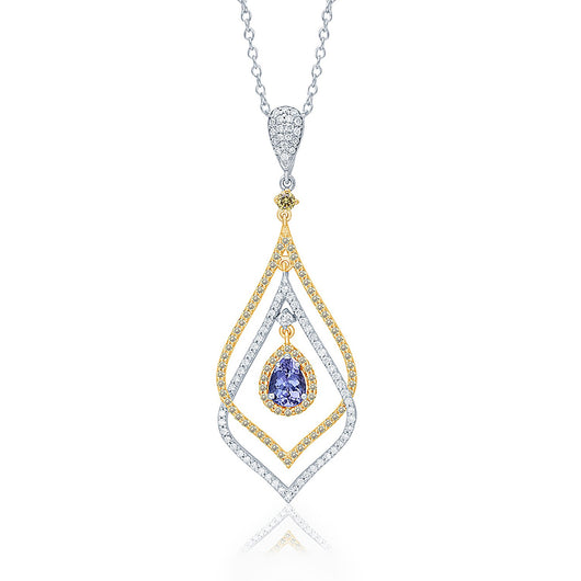 Two Tone Gold Tanzanite with Yellow & White Diamond Renaissance Pendant