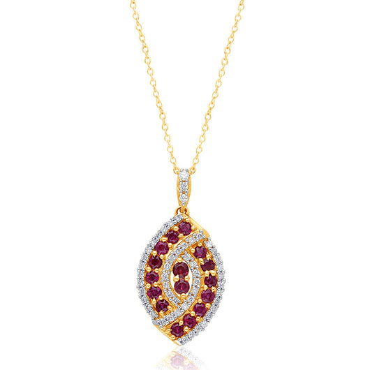 Yellow Gold Ruby & Diamond Infinite Pendant