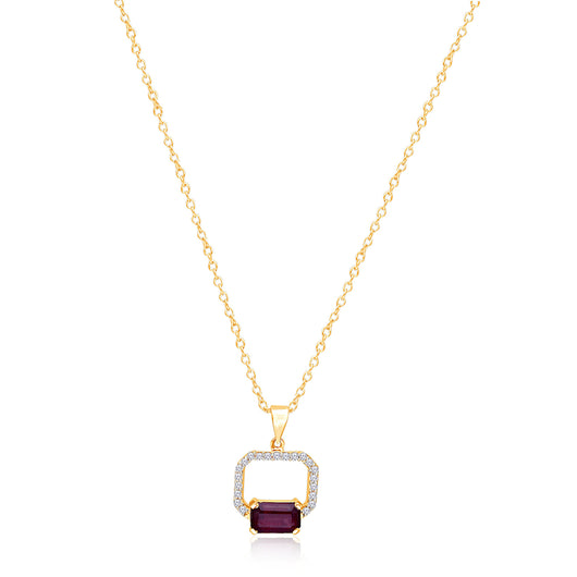 Yellow Gold Lab Certified Ruby & Diamond Heirloom Pendant