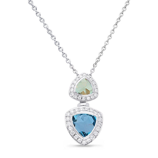 White Gold Green Amethyst, London Blue Topaz & Diamond Heirloom Pendant