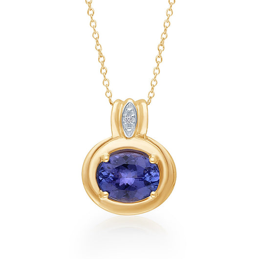 Yellow Gold Tanzanite & Diamond Heirloom Pendant