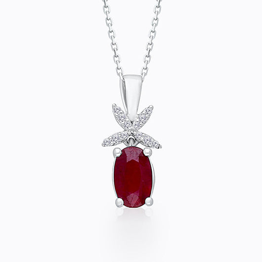 White Gold Ruby & Diamond Heirloom Pendant
