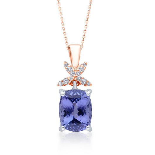 Two Tone Gold Tanzanite & Diamond Heirloom Pendant