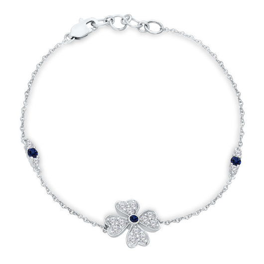White Gold Sapphire And Diamond Heirloom Flower Heart Bracelet