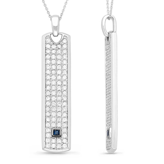 White Gold Diamond and Sapphire Men's Pendant