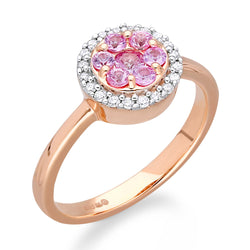 Rose Gold Pink Sapphire & Diamond Heirloom Ring