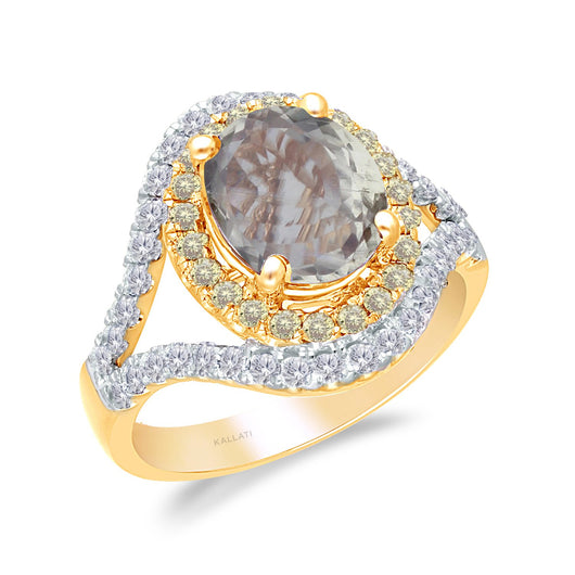 Yellow Gold Yellow & White Diamond Csarite Heirloom Ring