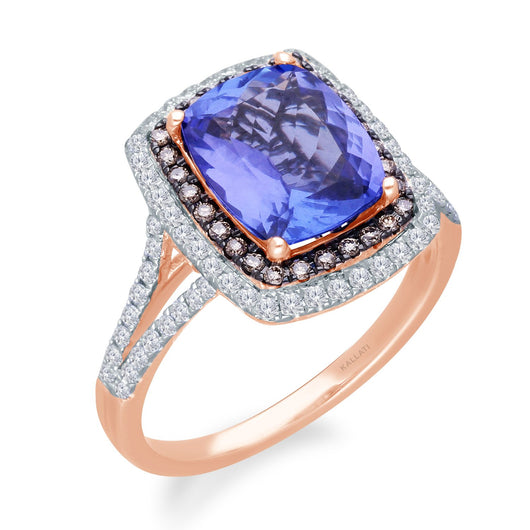 Rose Gold Tanzanite & Diamond Heirloom Ring