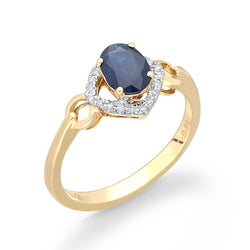 Yellow Gold Sapphire & Diamond Heirloom Ring