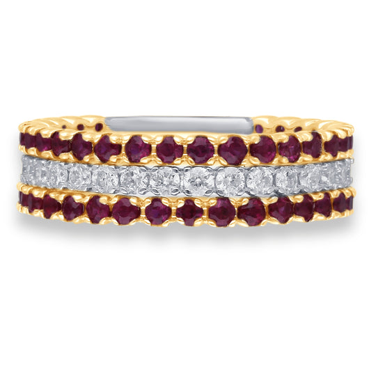 Yellow Gold Ruby & Diamond Infinite Ring