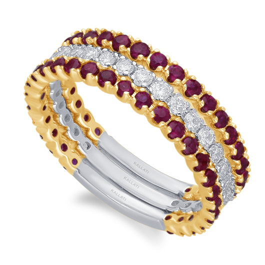 Two Tone Gold Ruby & Diamond Infinite Rings