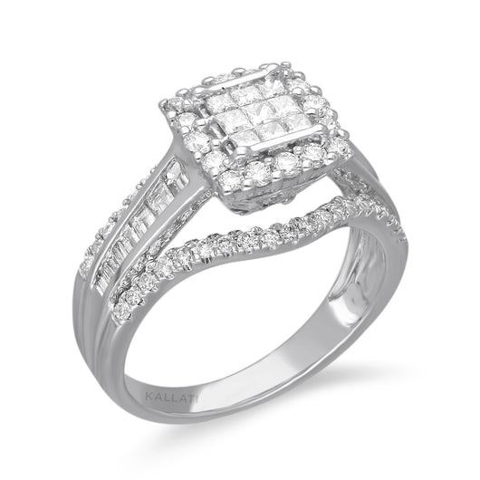 Kallati Legendary Princess Shape Diamond Engagement Ring in 14K White Gold