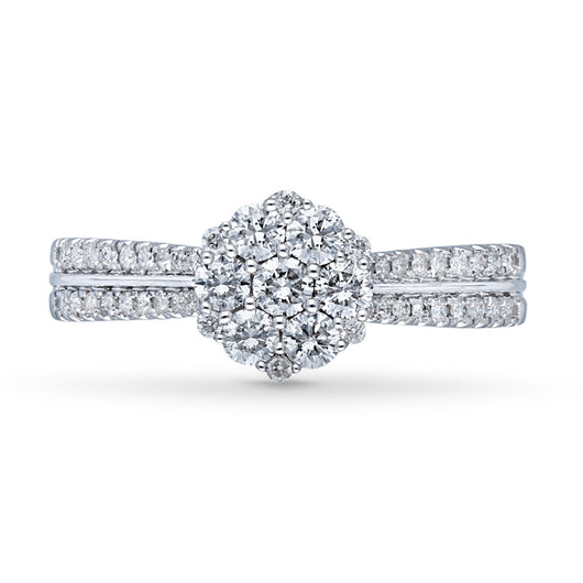Kallati Eternal Round Cluster Diamond Engagement Ring in 14K White Gold