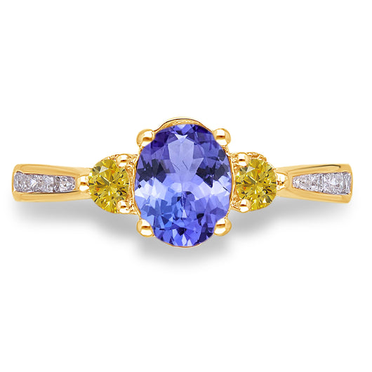 Yellow Gold Tanzanite & Yellow Diamond Heirloom Ring