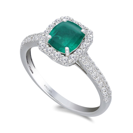 Kallati Heirloom Emerald-Cut Halo Emerald & Diamond Engagement Ring in 14K White Gold