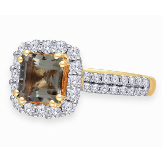 Yellow Gold Csarite & White Diamond Heirloom Ring