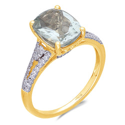 Yellow Gold Green Amethyst & Diamond Heirloom Ring