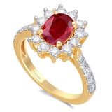 Kallati Heirloom Oval Halo Ruby & Diamond Engagement Ring in 14K Yellow Gold