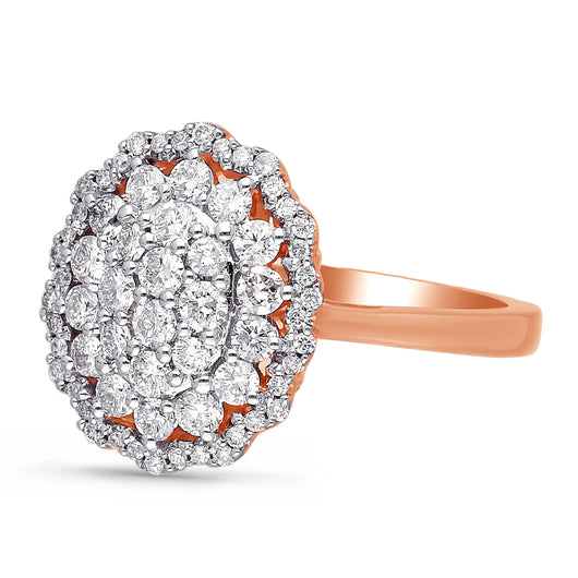 Kallati Eternal Oval Halo Cluster Diamond Engagement Ring in 14K Rose Gold