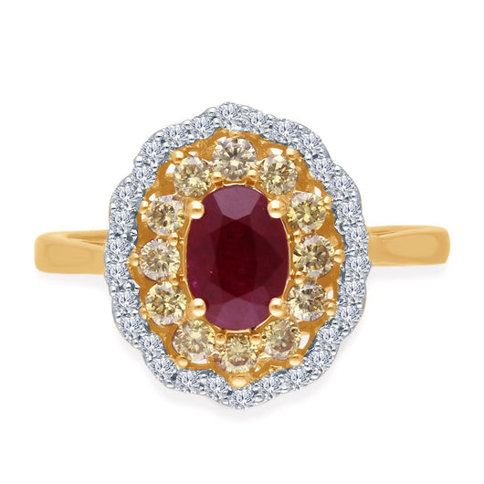 Yellow Gold Yellow & White Diamond Ruby Heirloom Ring