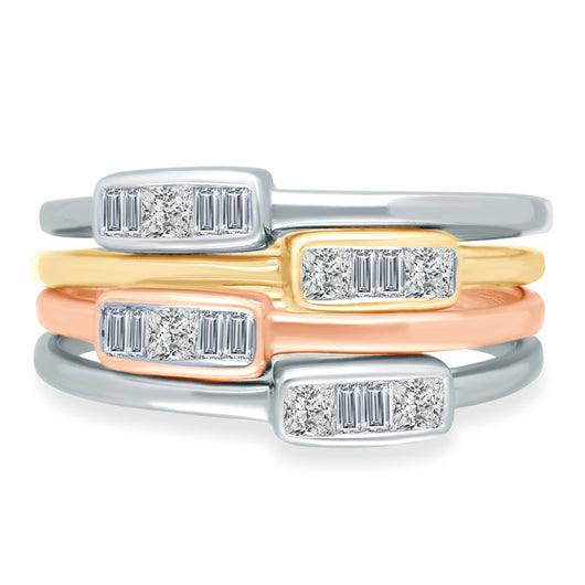 Tri Color Gold Diamond Legendary Stackable Rings