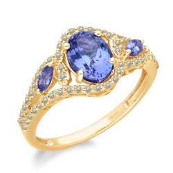 Two Tone Gold Tanzanite & Fancy Diamond Renaissance Ring