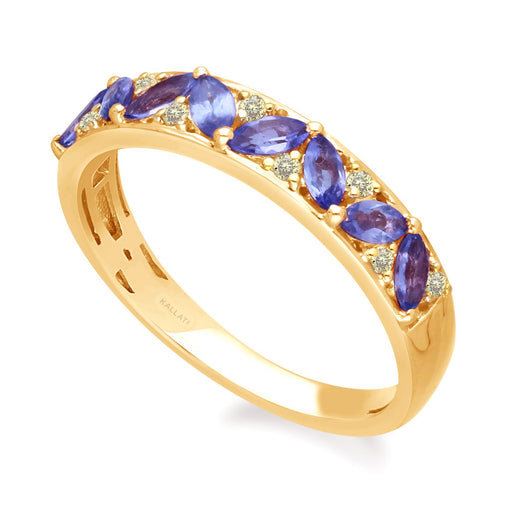 Yellow Gold Tanzanite & Fancy Yellow Diamond Renaissance Ring