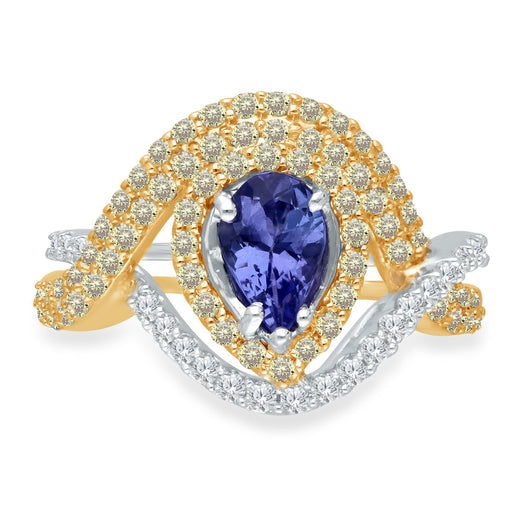 Two Tone Gold Tanzanite with Yellow & White Diamond Renaissance Ring