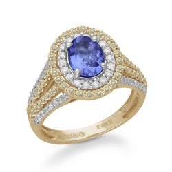 Yellow Gold Tanzanite & Fancy Diamond Renaissance Ring