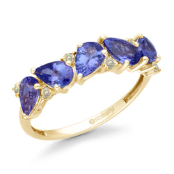 Yellow Gold Tanzanite & Diamond Heirloom Ring