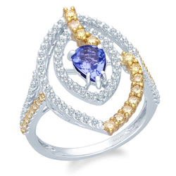 Two Tone Gold Tanzanite with Fancy & White Diamond Renaissance Ring