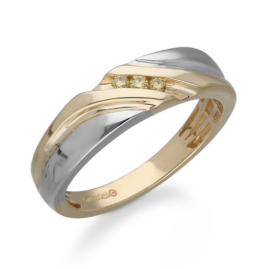 White and Yellow Gold Diamond Men's Ring