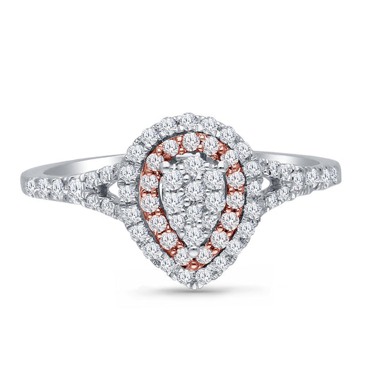 Kallati Eternal Pear Shape Cluster Diamond Engagement Ring in 14K Two Tone Gold