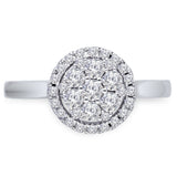 Kallati Eternal Round Halo Cluster Diamond Engagement Ring in 14K White Gold
