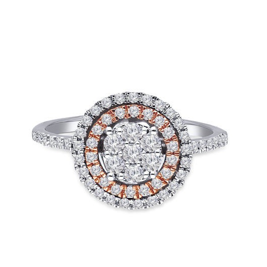 Kallati Eternal Double Halo Diamond Cluster Engagement Ring in 14K Two Tone White and Rose Gold