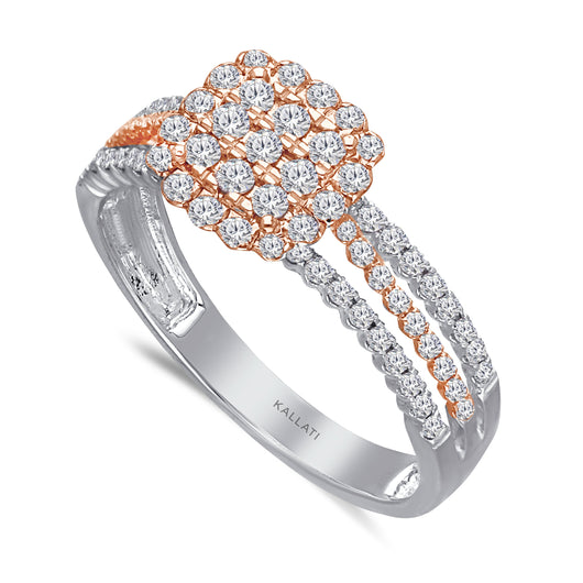 Kallati Eternal Cushion Diamond Cluster Engagement Ring in 14K Two Tone White and Rose Gold