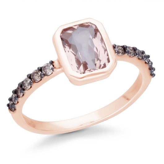 Rose Gold Morganite & Coco Diamond Heirloom Ring