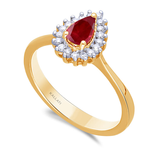 Kallati Heirloom Pear Halo Ruby & Diamond Engagement Ring in 14K Yellow Gold