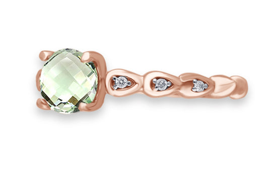Rose Gold Green Amethyst & Diamond Heirloom Ring