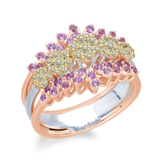Two Tone Gold Yellow Diamond & Pink Sapphire Eternal Ring