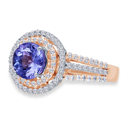 Two Tone Gold Tanzanite & Diamond Heirloom Ring