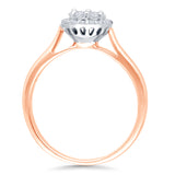Kallati Eternal Round Halo Diamond Engagement Ring in 14K Rose Gold