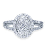 Kallati Eternal Oval Halo Cluster Diamond Engagement Ring in 14K White Gold