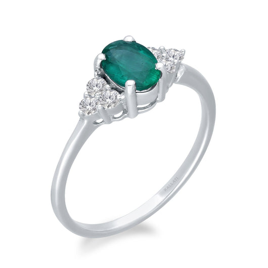 White Gold Emerald & Diamond Heirloom Ring