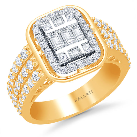 Kallati Eternal Cluster Diamond Engagement Ring in 14K Yellow Gold