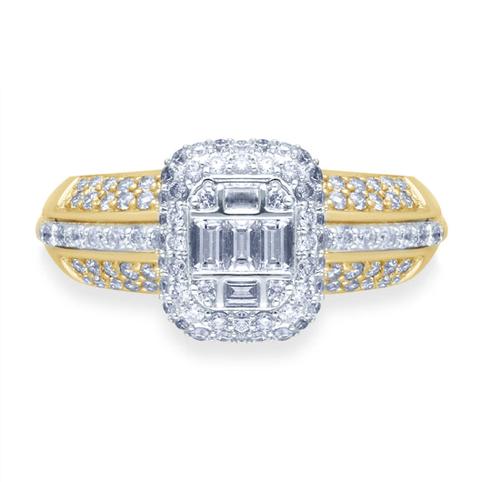 Kallati Eternal Cluster Diamond Engagement Ring in 14K Two Tone Gold
