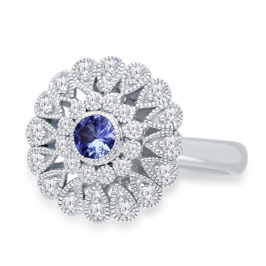 White Gold Tanzanite & Diamond Heirloom Ring