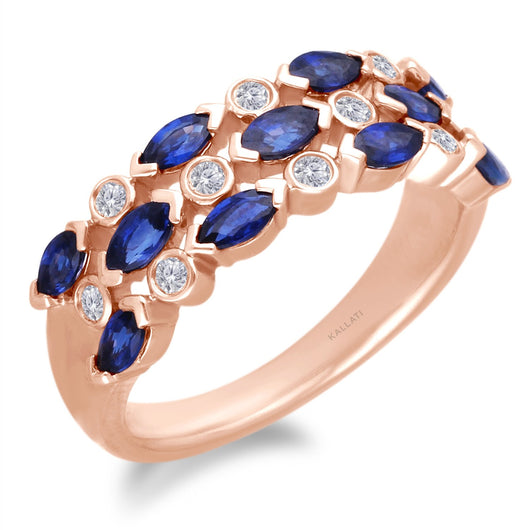 Rose Gold Sapphire & Diamond Heirloom Ring