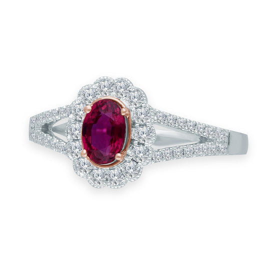 Two Tone Gold Ruby & Diamond Heirloom Ring