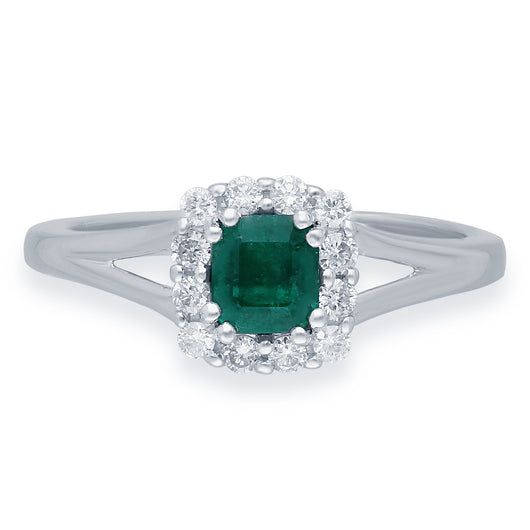 Kallati Heirloom Princess Cut Emerald & Diamond Engagement Ring in 14K White Gold